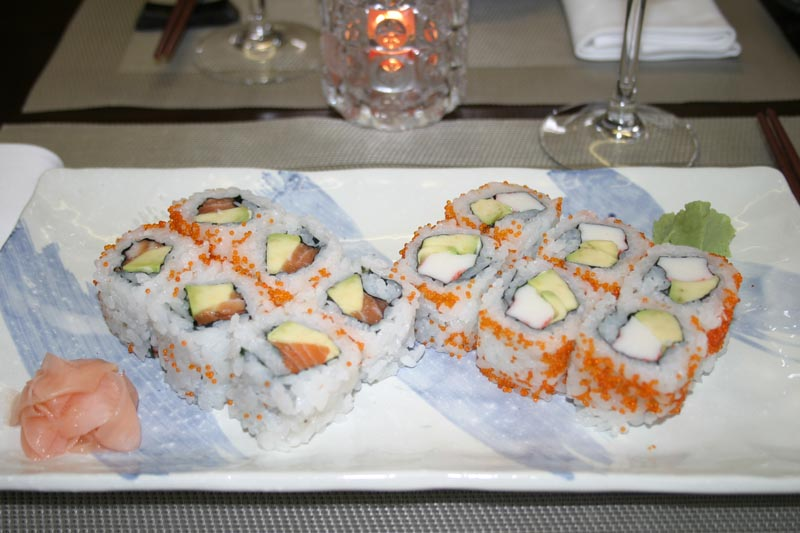 Salmon Avocado Roll & California Roll